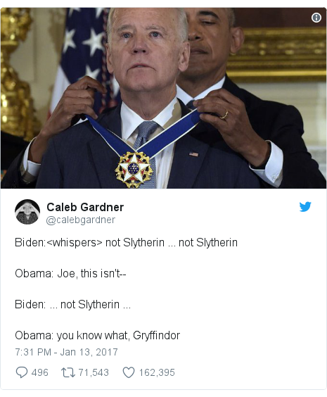 Twitter post by @calebgardner: Biden <whispers> not Slytherin ... not SlytherinObama  Joe, this isn't--Biden  ... not Slytherin ...Obama  you know what, Gryffindor