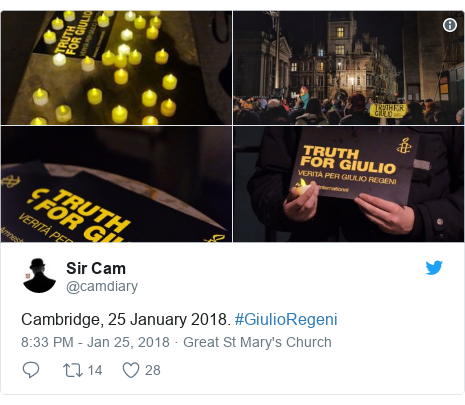 Twitter post by @camdiary: Cambridge, 25 January 2018. #GiulioRegeni