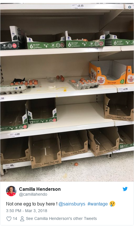 Twitter post by @camillahendo: Not one egg to buy here ! @sainsburys  #wantage 😢