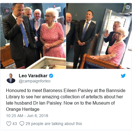 Twitter post by @campaignforleo: Honoured to meet Baroness Eileen Paisley at the Bannside Library to see her amazing collection of artefacts about her late husband Dr Ian Paisley. Now on to the Museum of Orange Heritage