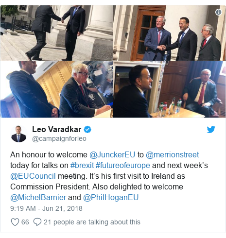Twitter post by @campaignforleo: An honour to welcome @JunckerEU to @merrionstreet today for talks on #brexit #futureofeurope and next week's @EUCouncil meeting. It's his first visit to Ireland as Commission President. Also delighted to welcome @MichelBarnier and @PhilHoganEU