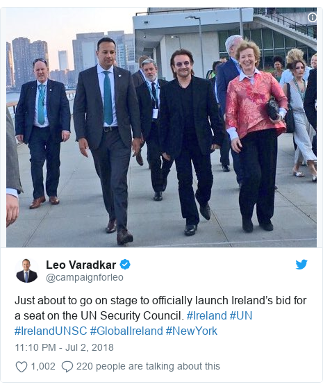 Twitter post by @campaignforleo: Just about to go on stage to officially launch Ireland's bid for a seat on the UN Security Council. #Ireland #UN #IrelandUNSC #GlobalIreland #NewYork