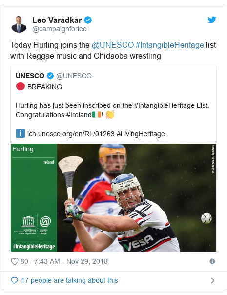Twitter post by @campaignforleo: Today Hurling joins the @UNESCO #IntangibleHeritage list with Reggae music and Chidaoba wrestling