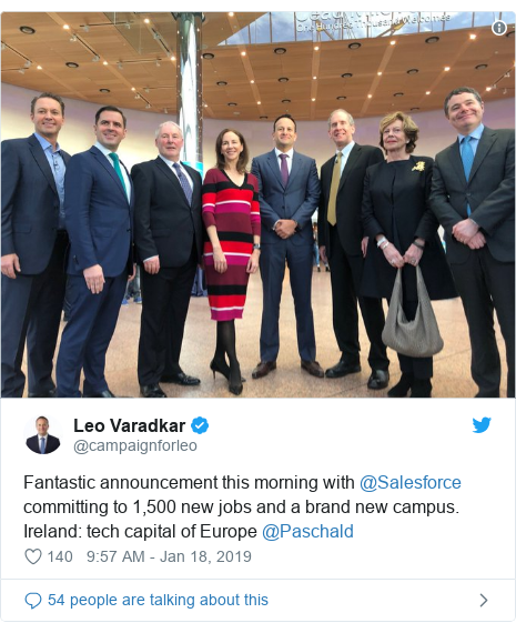 Twitter post by @campaignforleo: Fantastic announcement this morning with @Salesforce committing to 1,500 new jobs and a brand new campus. Ireland  tech capital of Europe ⁦@Paschald⁩