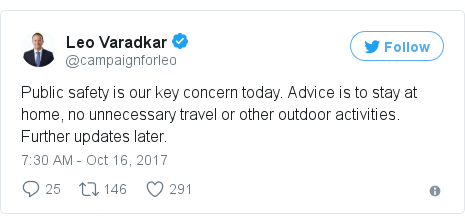 Twitter post by @campaignforleo: Public safety is our key concern today. Advice is to stay at home, no unnecessary travel or other outdoor activities. Further updates later.