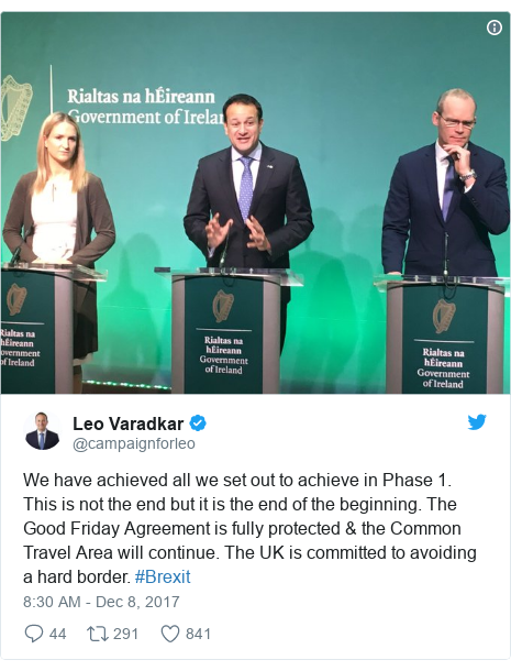 Twitter post by @campaignforleo: We have achieved all we set out to achieve in Phase 1. This is not the end but it is the end of the beginning. The Good Friday Agreement is fully protected & the Common Travel Area will continue. The UK is committed to avoiding a hard border. #Brexit
