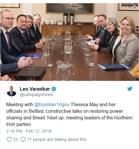 Twitter post by @campaignforleo: Meeting with @Number10gov Theresa May and her officials in Belfast, constructive talks on restoring power sharing and Brexit. Next up  meeting leaders of the Northern Irish parties