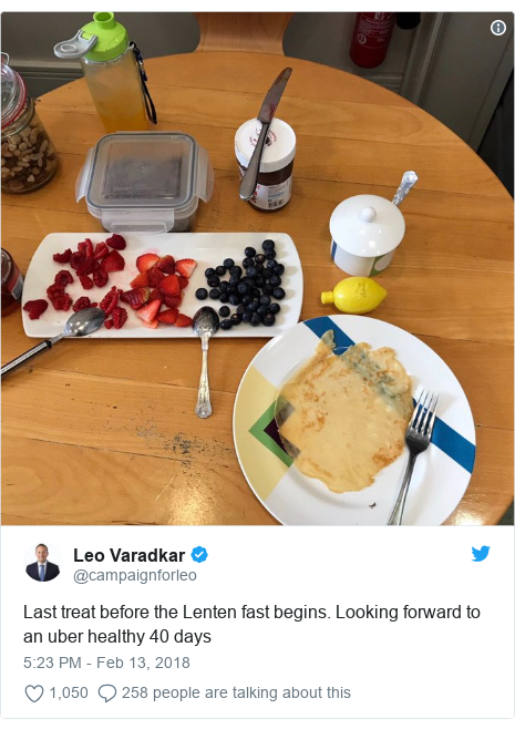 Twitter post by @campaignforleo: Last treat before the Lenten fast begins. Looking forward to an uber healthy 40 days