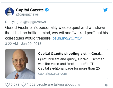 "Twitter post by @capgaznews: Gerald Fischman's personality was so quiet and withdrawn that it hid the brilliant mind, wry wit and ""wicked pen"" that his colleagues would treasure."