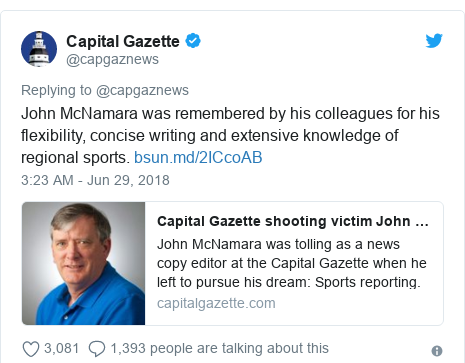 Twitter post by @capgaznews: John McNamara was remembered by his colleagues for his flexibility, concise writing and extensive knowledge of regional sports.