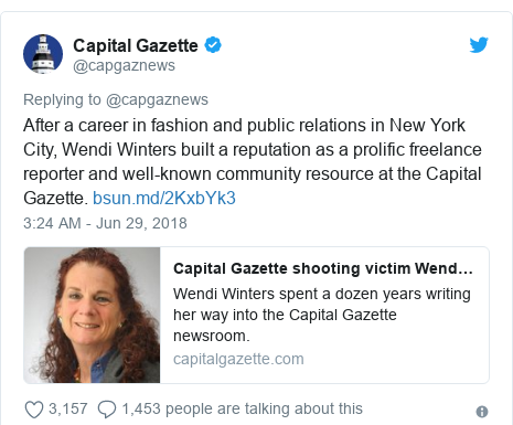 Twitter post by @capgaznews: After a career in fashion and public relations in New York City, Wendi Winters built a reputation as a prolific freelance reporter and well-known community resource at the Capital Gazette.