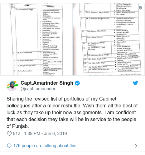 Twitter post by @capt_amarinder: Sharing the revised list of portfolios of my Cabinet colleagues after a minor reshuffle. Wish them all the best of luck as they take up their new assignments. I am confident that each decision they take will be in service to the people of Punjab.