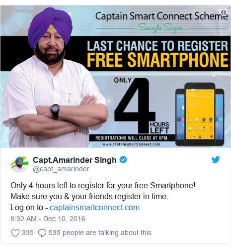 Twitter post by @capt_amarinder: Only 4 hours left to register for your free Smartphone!Make sure you & your friends register in time.Log on to -