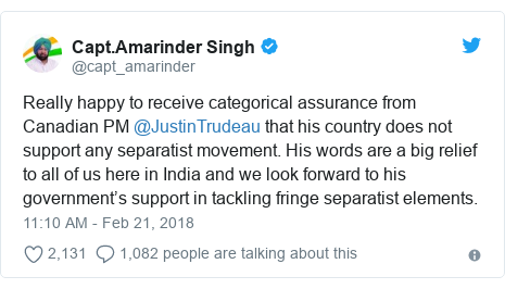 Twitter post by @capt_amarinder: Really happy to receive categorical assurance from Canadian PM @JustinTrudeau that his country does not support any separatist movement. His words are a big relief to all of us here in India and we look forward to his government's support in tackling fringe separatist elements.