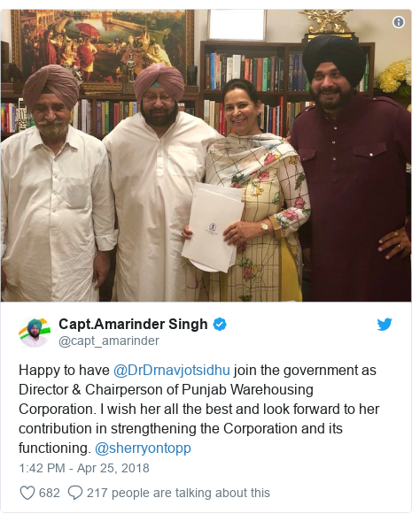 Twitter post by @capt_amarinder: Happy to have @DrDrnavjotsidhu join the government as Director & Chairperson of Punjab Warehousing Corporation. I wish her all the best and look forward to her contribution in strengthening the Corporation and its functioning. @sherryontopp
