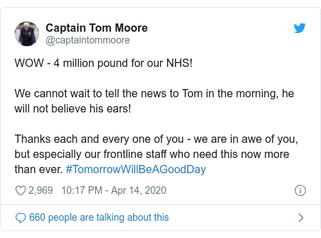 Twitter post by @captaintommoore: WOW - 4 million pound for our NHS!We cannot wait to tell the news to Tom in the morning, he will not believe his ears! Thanks each and every one of you - we are in awe of you, but especially our frontline staff who need this now more than ever. #TomorrowWillBeAGoodDay