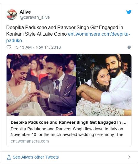 Twitter post by @caravan_alive: Deepika Padukone and Ranveer Singh Get Engaged In Konkani Style At Lake Como