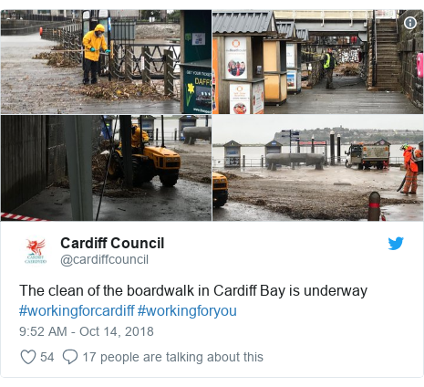 Twitter post by @cardiffcouncil: The clean of the boardwalk in Cardiff Bay is underway #workingforcardiff #workingforyou