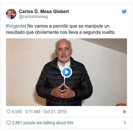 Twitter post by @carlosdmesag: #Urgente| No vamos a permitir que se manipule un resultado que obviamente nos lleva a segunda vuelta.