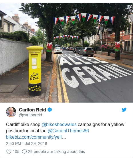 Twitter post by @carltonreid: Cardiff bike shop @bikeshedwales campaigns for a yellow postbox for local lad @GeraintThomas86