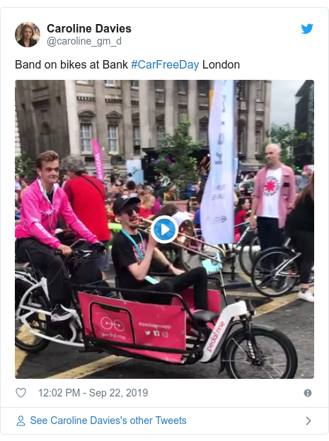 Twitter post by @caroline_gm_d: Band on bikes at Bank #CarFreeDay London