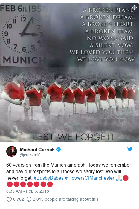 Twitter post by @carras16: 60 years on from the Munich air crash. Today we remember and pay our respects to all those we sadly lost. We will never forget. #BusbyBabes #FlowersOfManchester 🙏🏻🔴🔴🔴🔴🔴🔴🔴🔴