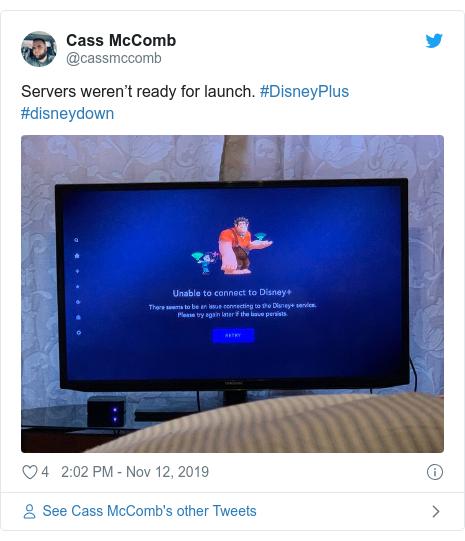Twitter post by @cassmccomb: Servers weren't ready for launch. #DisneyPlus #disneydown