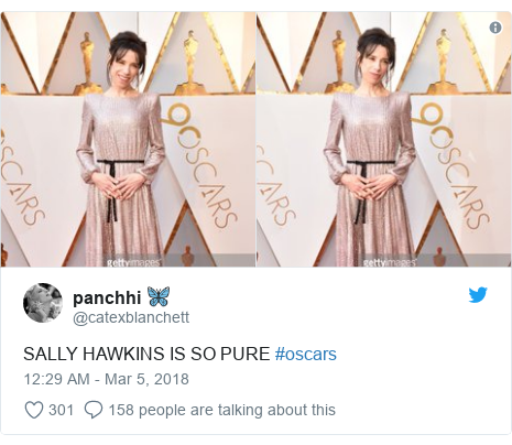 Twitter post by @catexblanchett: SALLY HAWKINS IS SO PURE #oscars