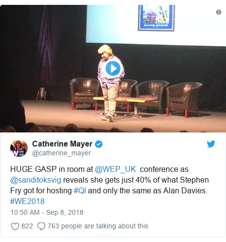 Twitter post by @catherine_mayer: HUGE GASP in room at @WEP_UK  conference as @sanditoksvig reveals she gets just 40% of what Stephen Fry got for hosting #QI and only the same as Alan Davies. #WE2018
