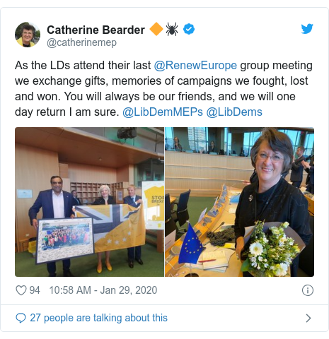 Twitter post by @catherinemep: As the LDs attend their last @RenewEurope group meeting we exchange gifts, memories of campaigns we fought, lost and won. You will always be our friends, and we will one day return I am sure. @LibDemMEPs @LibDems