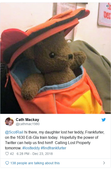 Twitter post by @cathmac1980: @ScotRail hi there, my daughter lost her teddy, Frankfurter, on the 1630 Edi-Gla train today.  Hopefully the power of Twitter can help us find him!!  Calling Lost Property tomorrow. #lostteddy #findfrankfurter