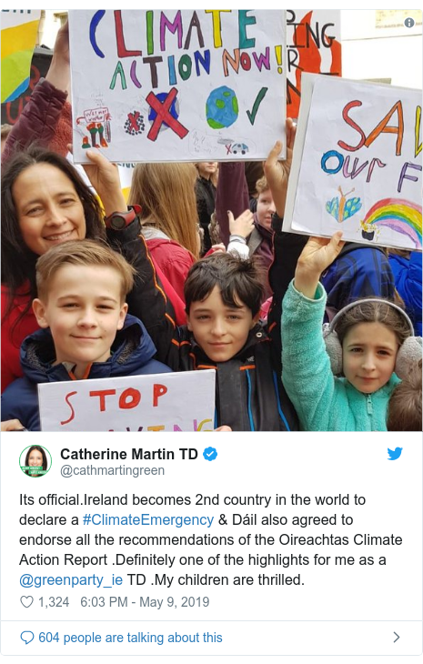 Twitter post by @cathmartingreen: Its official.Ireland becomes 2nd country in the world to declare a #ClimateEmergency & Dáil also agreed to endorse all the recommendations of the Oireachtas Climate Action Report .Definitely one of the highlights for me as a @greenparty_ie TD .My children are thrilled.