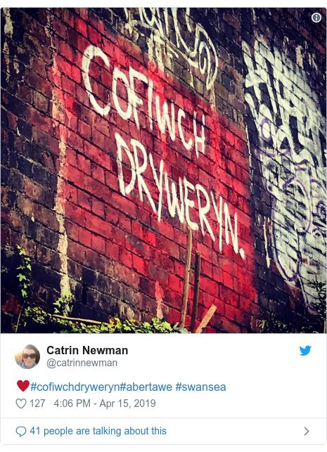 Neges Twitter gan @catrinnewman: ♥️#cofiwchdryweryn#abertawe #swansea