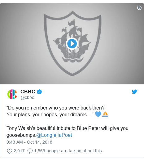 """Twitter post by @cbbc: """"Do you remember who you were back then?Your plans, your hopes, your dreams…"""" 💙⛵️Tony Walsh's beautiful tribute to Blue Peter will give you goosebumps.@LongfellaPoet"""