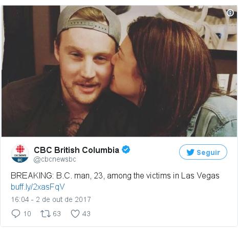 Twitter post de @cbcnewsbc: BREAKING  B.C. man, 23, among the victims in Las Vegas https //t.co/dKR7CDFaiE pic.twitter.com/x01dYyXxaI