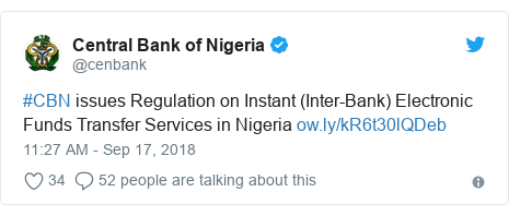 Twitter post by @cenbank: #CBN issues Regulation on Instant (Inter-Bank) Electronic Funds Transfer Services in Nigeria