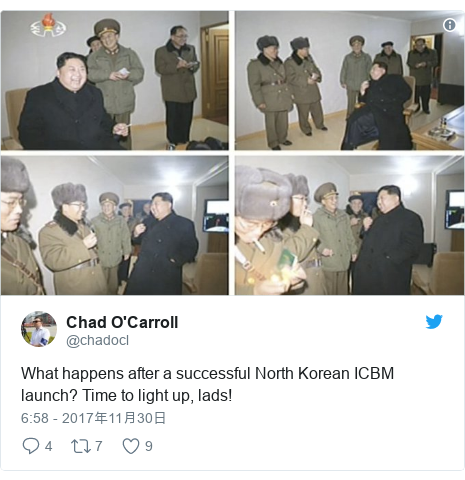 Twitter post by @chadocl: What happens after a successful North Korean ICBM launch? Time to light up, lads!