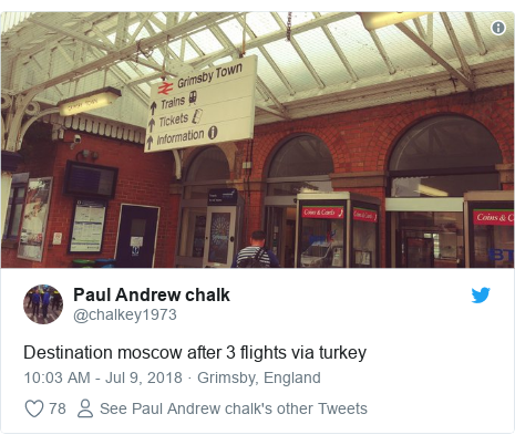 Twitter post by @chalkey1973: Destination moscow after 3 flights via turkey