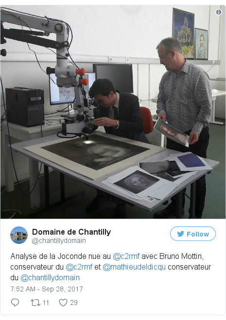 Twitter post by @chantillydomain: Analyse de la Joconde nue au @c2rmf avec Bruno Mottin, conservateur du @c2rmf et @mathieudeldicqu conservateur du @chantillydomain pic.twitter.com/alMMSu09nP