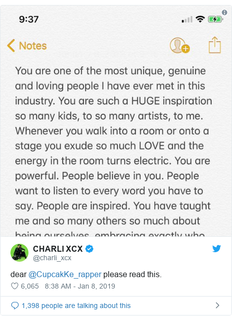 Twitter post by @charli_xcx: dear @CupcakKe_rapper please read this.