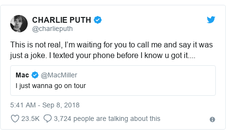 Twitter post by @charlieputh: This is not real, I'm waiting for you to call me and say it was just a joke. I texted your phone before I know u got it....