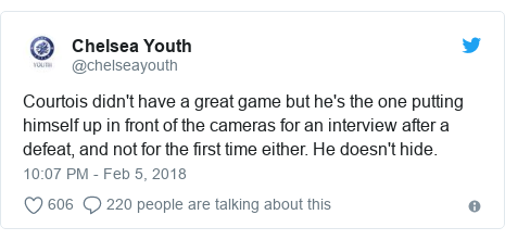 Twitter post by @chelseayouth: Courtois didn't have a great game but he's the one putting himself up in front of the cameras for an interview after a defeat, and not for the first time either. He doesn't hide.