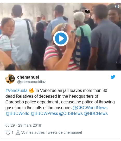 Twitter publication par @chemanueldiaz: #Venezuela 🔥 in Venezuelan jail leaves more than 80 dead Relatives of deceased in the headquarters of Carabobo police department , accuse the police of throwing gasoline in the cells of the prisoners @CBCWorldNews @BBCWorld @BBCWPress @CBSNews @NBCNews