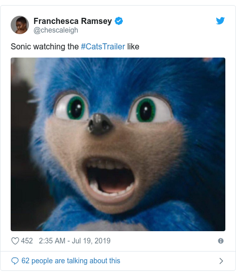 Twitter post by @chescaleigh: Sonic watching the #CatsTrailer like