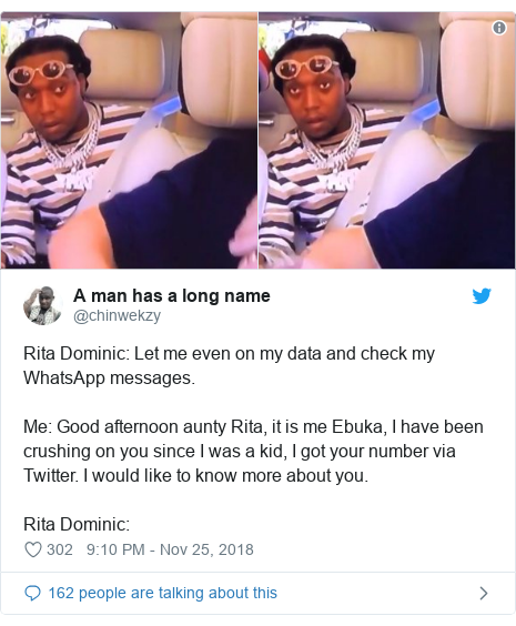 Twitter post by @chinwekzy: Rita Dominic  Let me even on my data and check my WhatsApp messages.Me  Good afternoon aunty Rita, it is me Ebuka, I have been crushing on you since I was a kid, I got your number via Twitter. I would like to know more about you.Rita Dominic
