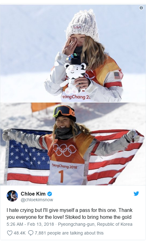 Twitter post by @chloekimsnow: I hate crying but I'll give myself a pass for this one. Thank you everyone for the love! Stoked to bring home the gold