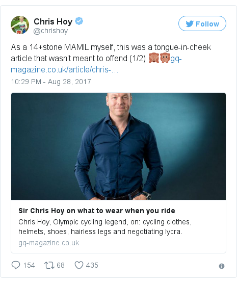 Twitter post by @chrishoy: As a 14+stone MAMIL myself, this was a tongue-in-cheek article that wasn't meant to offend (1/2) 🙈🙊https //t.co/ludxBQm9QN