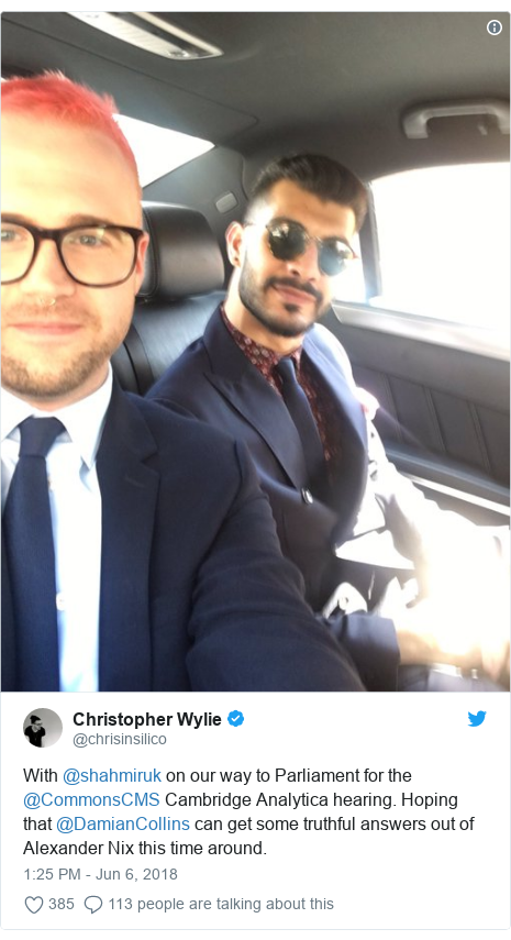 Twitter post by @chrisinsilico: With @shahmiruk on our way to Parliament for the @CommonsCMS Cambridge Analytica hearing. Hoping that @DamianCollins can get some truthful answers out of Alexander Nix this time around.