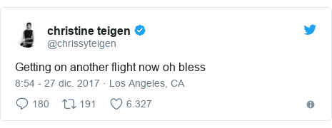Publicación de Twitter por @chrissyteigen: Getting on another flight now oh bless