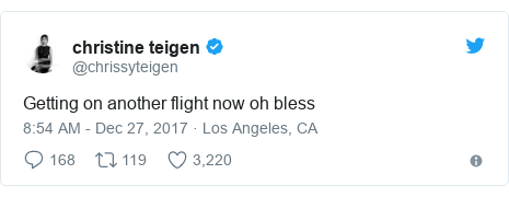 Twitter post by @chrissyteigen: Getting on another flight now oh bless